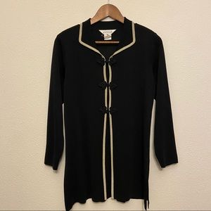 Misook Three Button Black and Gold Cardigan Xsmall